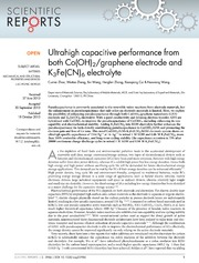 Vol 3: Ultrahigh capacitive performance from both CoOH2-graphene electrode and K3FeCN6 electrolyte.