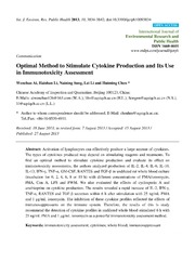 Vol 10: Optimal Method to Stimulate Cytokine Production and Its Use in Immunotoxicity Assessment.