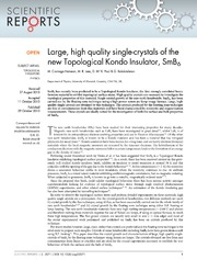 Vol 3: Large, high quality single-crystals of the new Topological Kondo Insulator, SmB6.
