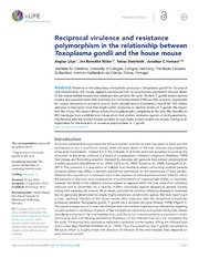 Vol 2: Reciprocal virulence and resistance polymorphism in the relationship between Toxoplasma gondii and the house mouse.