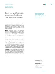 Vol 54: Gender and age differences in prevalence and incidence of child sexual abuse in Croatia.