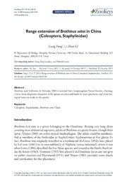 Range extension of Brathinus satoi in China Coleoptera, Staphylinidae.