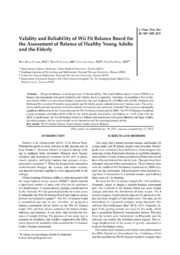 Vol 25: Validity and Reliability of Wii Fit Balance Board for the Assessment of Balance of Healthy Young Adults and the Elderly.