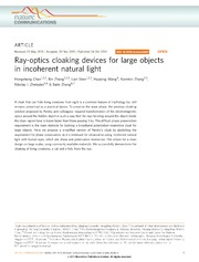 Vol 4: Ray-optics cloaking devices for large objects in incoherent natural light.