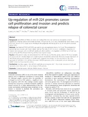 Vol 13: Up-regulation of miR-224 promotes cancer cell proliferation and invasion and predicts relapse of colorectal cancer.