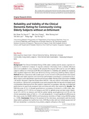 Vol 3: Reliability and Validity of the Clinical Dementia Rating for Community-Living Elderly Subjects without an Informant.