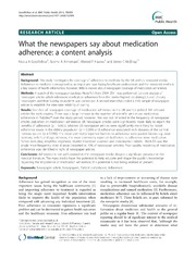 Vol 13: What the newspapers say about medication adherence: a content analysis.