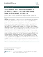 Vol 13: Unique trend and contradictory trend in discrimination of primary synchronous lung cancer and metastatic lung cancer.