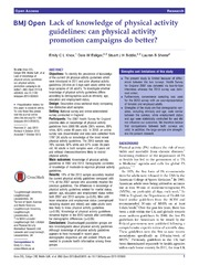 Vol 3: Lack of knowledge of physical activity guidelines: can physical activity promotion campaigns do better