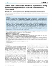 Vol 8: Lizards from Urban Areas Are More Asymmetric: Using Fluctuating Asymmetry to Evaluate Environmental Disturbance.