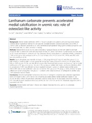 Vol 11: Lanthanum carbonate prevents accelerated medial calcification in uremic rats: role of osteoclast-like activity.