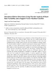 Vol 13: Detection of Driver Drowsiness Using Wavelet Analysis of Heart Rate Variability and a Support Vector Machine Classifier.