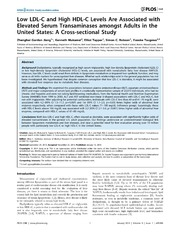 Vol 9: Low LDL-C and High HDL-C Levels Are Associated with Elevated Serum Transaminases amongst Adults in the United States: A Cross-sectional Study.