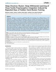 Vol 9: Sleep Dissolves Illusion: Sleep Withstands Learning of Visuo-Tactile-Proprioceptive Integration Induced by Repeated Days of Rubber Hand Illusion Training.