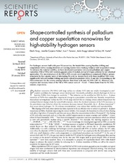 Vol 4: Shape-controlled synthesis of palladium and copper superlattice nanowires for high-stability hydrogen sensors.