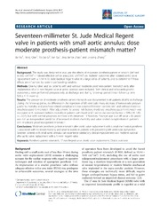 Vol 9: Seventeen-millimeter St. Jude Medical Regent valve in patients with small aortic annulus: dose moderate prosthesis-patient mismatch matter