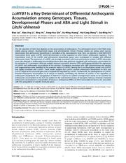 Vol 9: LcMYB1 Is a Key Determinant of Differential Anthocyanin Accumulation among Genotypes, Tissues, Developmental Phases and ABA and Light Stimuli in Litchi chinensis.
