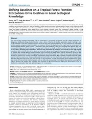 Vol 9: Shifting Baselines on a Tropical Forest Frontier: Extirpations Drive Declines in Local Ecological Knowledge.