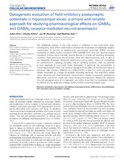 Vol 8: Optogenetic evocation of field inhibitory postsynaptic potentials in hippocampal slices: a simple and reliable approach for studying pharmacological effects on GABAA and GABAB receptor-mediated neurotransmission.