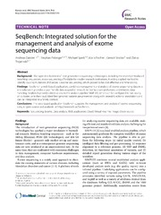 Vol 7: SeqBench: Integrated solution for the management and analysis of exome sequencing data.