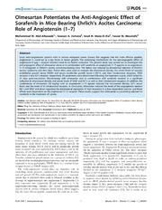 Vol 9: Olmesartan Potentiates the Anti-Angiogenic Effect of Sorafenib in Mice Bearing Ehrlichs Ascites Carcinoma: Role of Angiotensin 1-7.