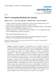 Vol 2: Flux-P: Automating Metabolic Flux Analysis.