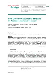 Vol 6: Low-Dose Bevacizumab Is Effective in Radiation-Induced Necrosis.