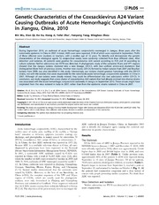 Vol 9: Genetic Characteristics of the Coxsackievirus A24 Variant Causing Outbreaks of Acute Hemorrhagic Conjunctivitis in Jiangsu, China, 2010.