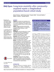 Vol 4: Long-term mortality after community-acquired sepsis: a longitudinal population-based cohort study.