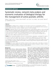 Vol 15: Systematic review, network meta-analysis and economic evaluation of biological therapy for the management of active psoriatic arthritis.