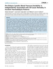 Vol 9: Pre-Dialysis Systolic Blood Pressure-Variability Is Independently Associated with All-Cause Mortality in Incident Haemodialysis Patients.