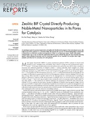 Vol 4: Zeolitic BIF Crystal Directly Producing Noble-Metal Nanoparticles in Its Pores for Catalysis.