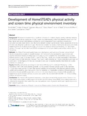 Vol 10: Development of HomeSTEADs physical activity and screen time physical environment inventory.