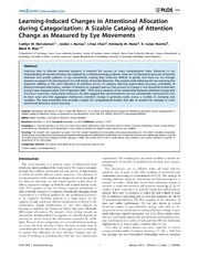 Vol 9: Learning-Induced Changes in Attentional Allocation during Categorization: A Sizable Catalog of Attention Change as Measured by Eye Movements.