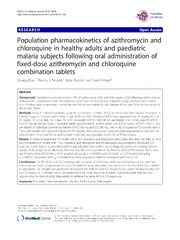 Vol 13: Population pharmacokinetics of azithromycin and chloroquine in healthy adults and paediatric malaria subjects following oral administration of fixed-dose azithromycin and chloroquine combination tablets.