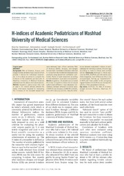 Vol 21: H-indices of Academic Pediatricians of Mashhad University of Medical Sciences.