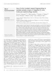 Vol 95: Use of short tandem repeat fingerprinting to validate sample origins in hepatitis C virus molecular epidemiology studies.