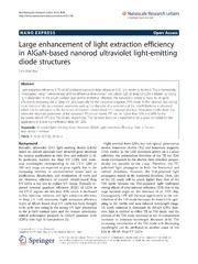 Vol 9: Large enhancement of light extraction efficiency in AlGaN-based nanorod ultraviolet light-emitting diode structures.