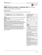 Vol 1: Female circumcision: Limiting the harm.