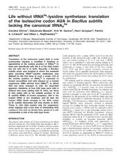 Vol 42: Life without tRNAIle-lysidine synthetase: translation of the isoleucine codon AUA in Bacillus subtilis lacking the canonical tRNA2Ile.