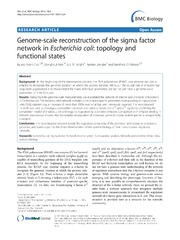 Vol 12: Genome-scale reconstruction of the sigma factor network in Escherichia coli: topology and functional states.