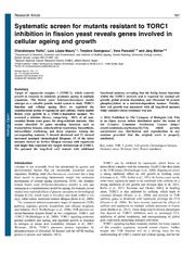 Vol 3: Systematic screen for mutants resistant to TORC1 inhibition in fission yeast reveals genes involved in cellular ageing and growth.