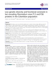 Vol 13: Low genetic diversity and functional constraint in loci encoding Plasmodium vivax P12 and P38 proteins in the Colombian population.