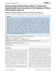Vol 9: Parental Binge Alcohol Abuse Alters F1 Generation Hypothalamic Gene Expression in the Absence of Direct Fetal Alcohol Exposure.