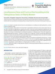 Vol 47: Levothyroxine Dose and Fracture Risk According to the Osteoporosis Status in Elderly Women.