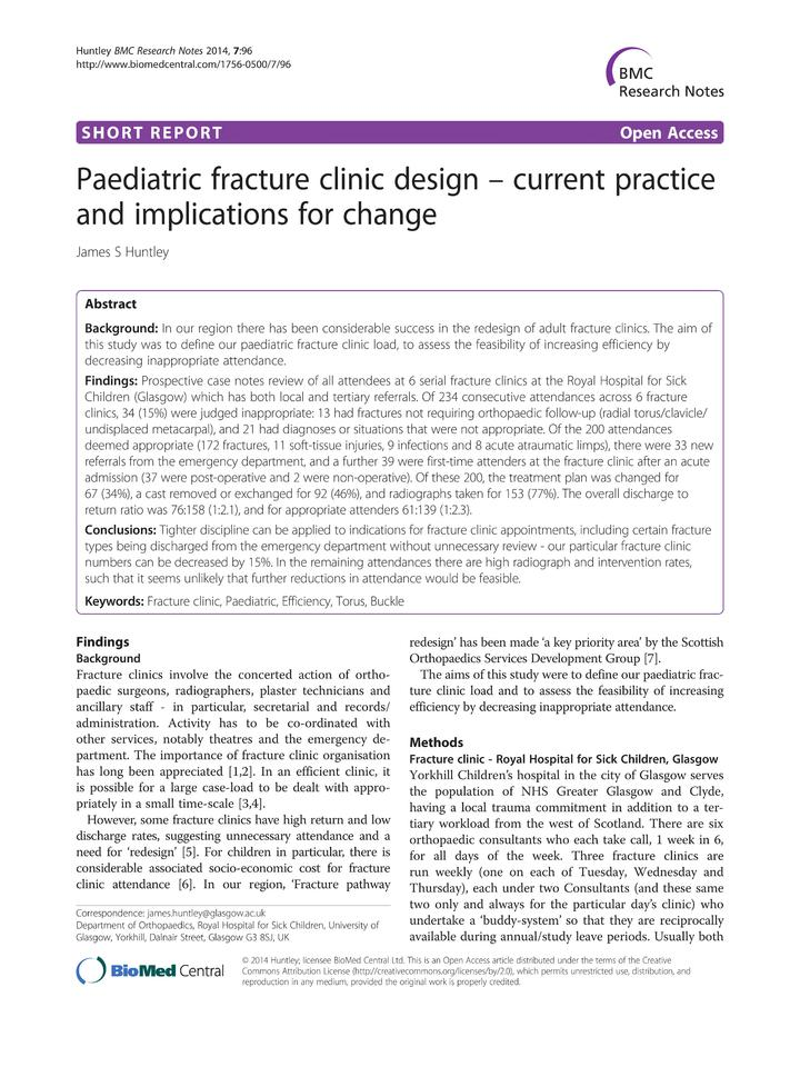 Vol 7: Paediatric fracture clinic design - current practice and implications for change.