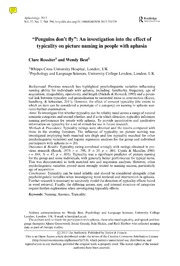 Vol 27: Penguins don-t fly: An investigation into the effect of typicality on picture naming in people with aphasia.