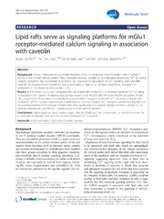 Vol 7: Lipid rafts serve as signaling platforms for mGlu1 receptor-mediated calcium signaling in association with caveolin.