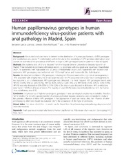 Vol 8: Human papillomavirus genotypes in human immunodeficiency virus-positive patients with anal pathology in Madrid, Spain.