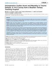 Vol 9: Intraoperative Cardiac Arrest and Mortality in Trauma Patients. A 14-Yr Survey from a Brazilian Tertiary Teaching Hospital.